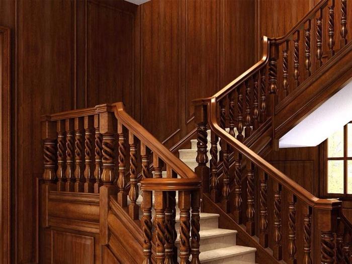 杭州金地自在城花园洋房原木楼梯定制